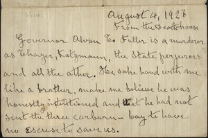 Bartolomeo Vanzetti autographed letter signed to the Sacco-Vanzetti Defense Committee, Death House [Charlestown], 4 August 1927