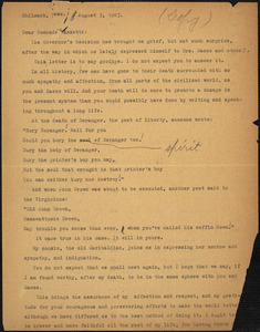 Alice Stone Blackwell typed letter (copy) to Bartolomeo Vanzetti, Chilmark, Mass., 5 August 1927