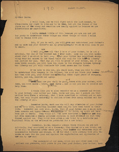 Bartolomeo Vanzetti typed letter (copy) to Dante Sacco, [Charlestown], 1927 August 21
