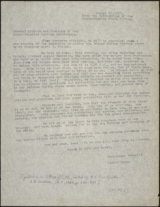 Bartolomeo Vanzetti typed letter (copy) to the Friends and Comrades of the Sacco-Vanzetti Defense Committee, [The Death House], 21 August 1927