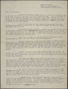 Bartolomeo Vanzetti and Nicola Sacco. typed letter (copy) to [Harry W.L.] Dana, the Death House, 22 August 1927