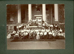 Abbot Academy Girls in front of Abbot Hall