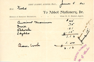 Bill to the Abbot Academy bookstore, June 5, 1901