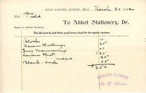 Bill to the Abbot Academy bookstore, March 20, 1902
