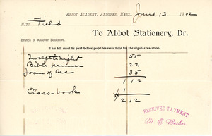 Bill to the Abbot Academy bookstore, June 13, 1902