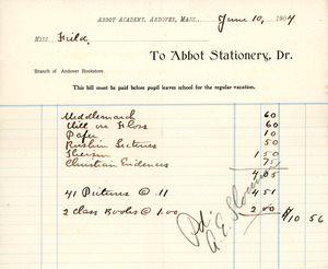 Bill to the Abbot Academy bookstore, June 10, 1904