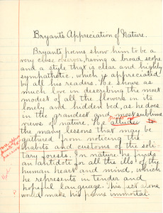 """""""Bryant's Appreciation of Nature"""" essay by Sarah (Sallie) M. Field, Abbot Academy, class of 1904"""