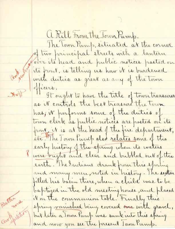 """""""A Rill from the Town Pump"""" essay by Sarah (Sallie) M. Field, Abbot Academy, class of 1904"""