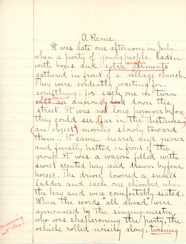 """A Picnic"" essay by Sarah (Sallie) M. Field, Abbot Academy, class of 1904"