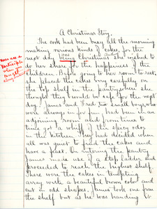 """A Christmas Story"" essay for English III by Sarah (Sallie) M. Field, Abbot Academy, class of 1904"