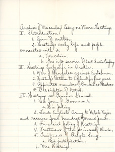 """""""Analysis of Macaulay's Essay on Warren Hastings"""" outline for English III by Sarah (Sallie) M. Field, Abbot Academy, classof 1904"""