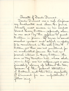 """""""Character of Dandie Durmont"""" essay for English III by Sarah (Sallie) M. Field, Abbot Academy, class of 1904"""
