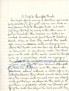 """A Trip to Hampton Beach"" essay for English III by Sarah (Sallie) M. Field, Abbot Academy, class of 1904"