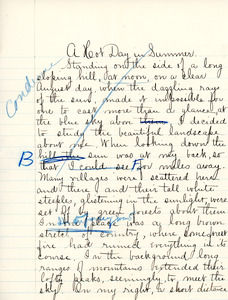 """A Hot day in Summer"" essay for English III by Sarah (Sallie) M. Field, Abbot Academy, class of 1904"