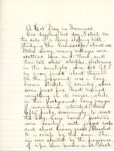 """A Hot day in Summer"" essay, resubmitted for English III by Sarah (Sallie) M. Field, Abbot Academy, class of 1904"