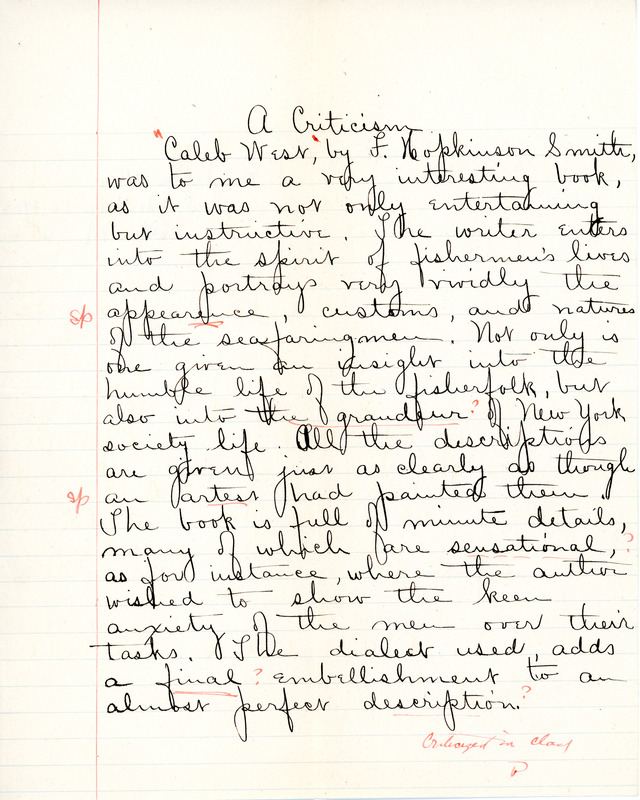 """A Criticism"" essay for English IV by Sarah (Sallie) M. Field, Abbot Academy, class of 1904"