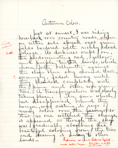 """""""Autumn Colors"""" essay for English IV by Sarah (Sallie) M. Field, Abbot Academy, class of 1904"""