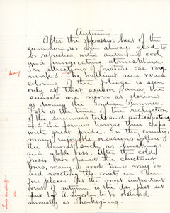 """""""Auntumn"""" essay for English IV by Sarah (Sallie) M. Field, Abbot Academy, class of 1904"""
