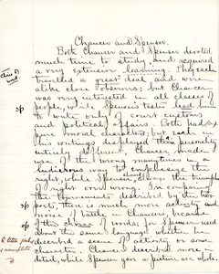 """""""Chauce and Spenser"""" essay for English IV by Sarah (Sallie) M. Field, Abbot Academy, class of 1904"""