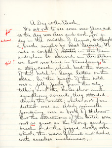 """A Day at the Beach"" essay for English IV by Sarah (Sallie) M. Field, Abbot Academy, class of 1904"