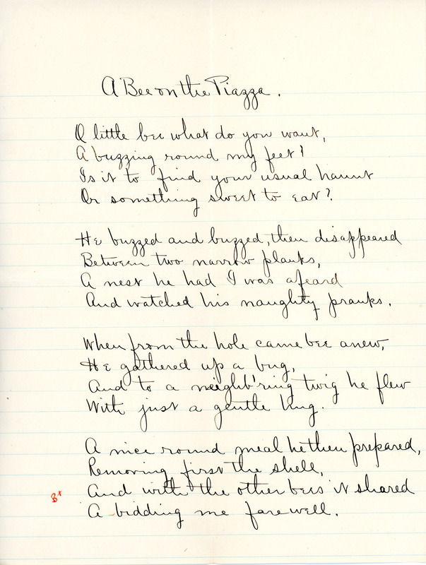 """A Bee on the Piazza"" poem for English IV by Sarah (Sallie) M. Field, Abbot Academy, class of 1904"