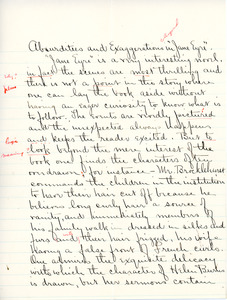 """Absurdities and Exagerations in Jane Eyre"" essay for English V by Sarah (Sallie) M. Field, Abbot Academy, class of 1904"