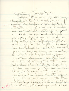 """""""Characters in Trollope's Novels"""" essay for English V by Sarah (Sallie) M. Field, Abbot Academy, class of 1904"""