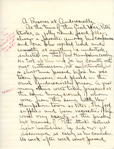 """A Prisoner at Andersonville"" essay for English V by Sarah (Sallie) M. Field, Abbot Academy, class of 1904"