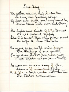 Tree Song for English V by Sarah (Sallie) M. Field, Abbot Academy, class of 1904
