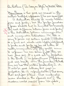 """An Outline on 'An Essay on Style' by Walter Pater"" for English V by Sarah (Sallie) M. Field, Abbot Academy, class of 1904"