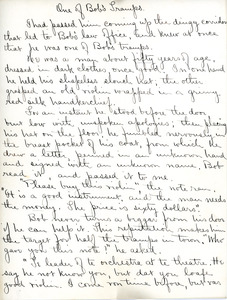 """One of Bob's Tramps"" essay by Sarah (Sallie) M. Field, Abbot Academy, class of 1904"