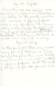 """Page 107"" writing exercise for English III by Sarah (Sallie) M. Field, Abbot Academy, class of 1904"