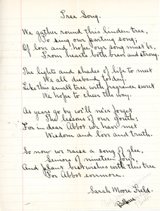 Tree Song by Sarah (Sallie) M. Field, Abbot Academy, class of 1904