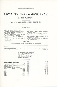 Loyalty Endowment Fund ninth report of Sarah (Sallie) M. Field, Abbot Academy, class of 1904