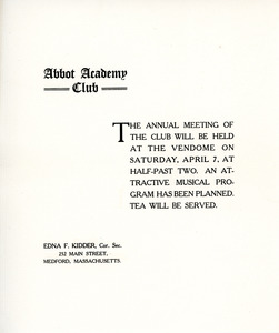Abbot Academy Club annual meeting invitation, Sarah (Sallie) M. Field, Abbot Academy, class of 1904