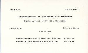 Mini schedule for performance in Draper Hall, Sarah (Sallie) M. Field, Abbot Academy, class of 1904