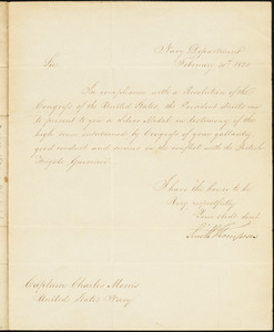 Smith Thompson to Charles Morris, February 10, 1820