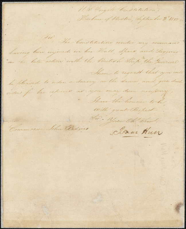 Isaac Hull to John Rodgers, September 2, 1812