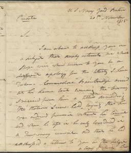 Isaac Hull to Benjamin Crowninshield, November 20, 1815