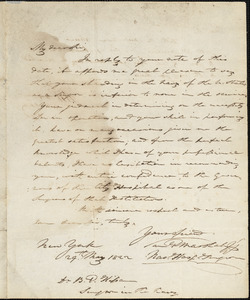 Dr. Samuel G. Marshall to Dr. Benjamin P. Kissam, May 29, 1822