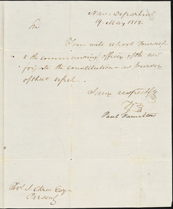 Paul Hamilton to Thomas Chew, May 19, 1812