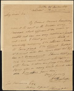 William Bainbridge to George Harrison, October 28, 1817