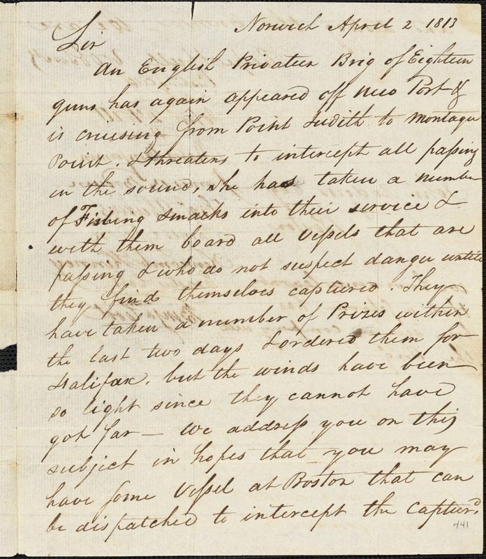 Citizens of Norwich, Connecticut to John Rodgers, April 2, 1813