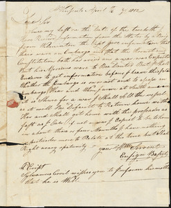 Ensign Bassett to Sylvanus Crowell, April 16, 1812