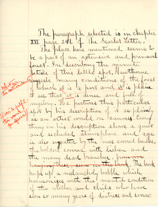 """Selected from the Scarlet Letter"" written exercise by Sarah (Sallie) M. Field, Abbot Academy, class of 1904"