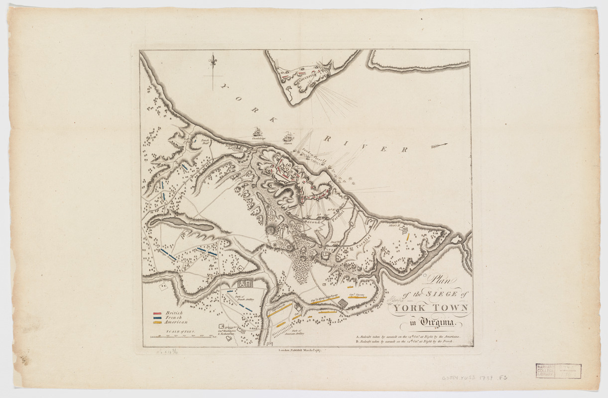 Plan of the siege of York Town in Virginia