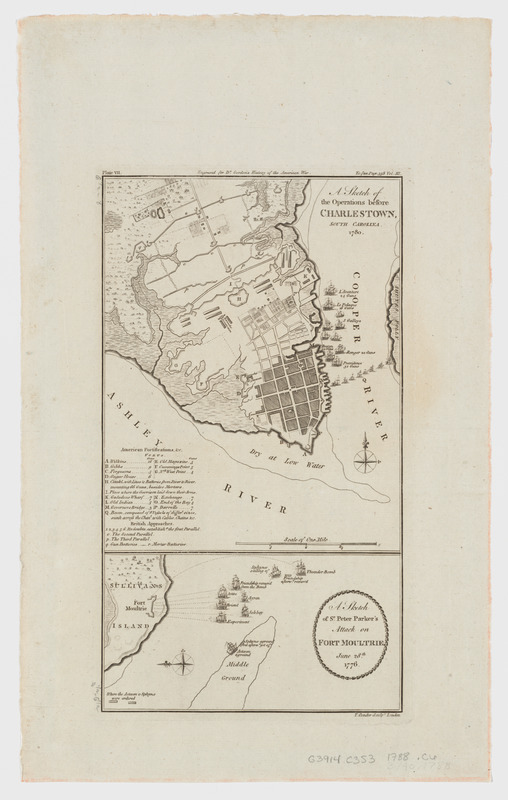 A sketch of the operations before Charlestown, South Carolina, 1780. A sketch of Sr. Peter Parker's attack on Fort Moultrie, June 28th, 1776
