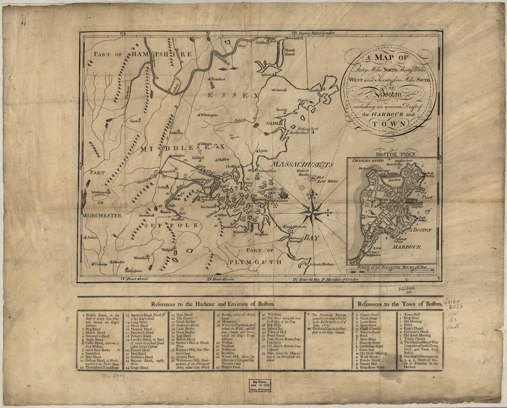 A Map of forty miles north, thirty miles west, and twentyfive miles south of Boston