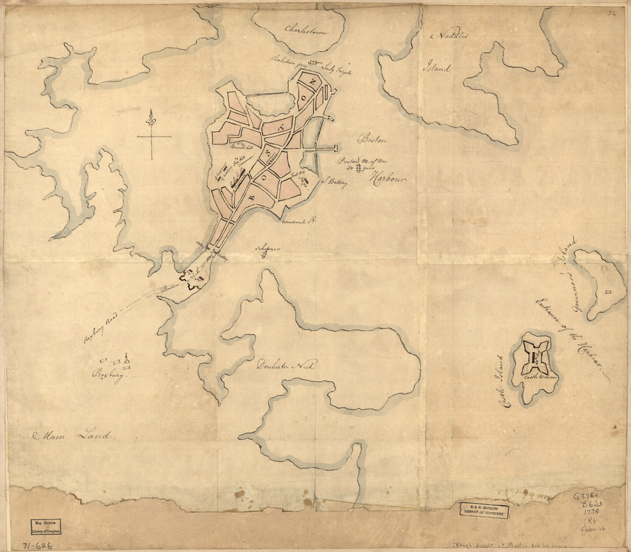 [Rough draught of Boston and harbour]