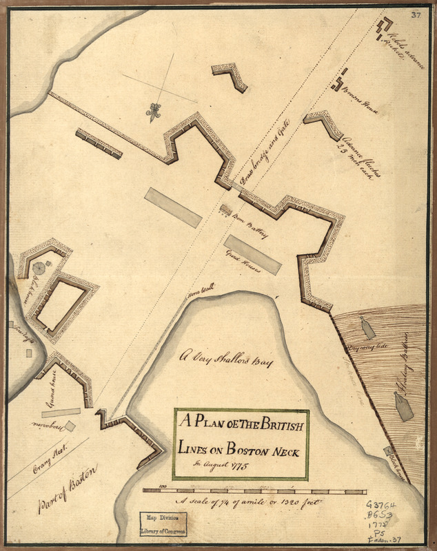 A Plan oe [i.e. of] the British lines on Boston Neck in August 1775